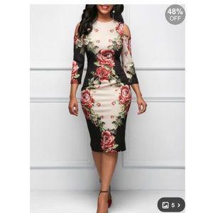 Sleeve Cold Shoulder Flower Print Dress